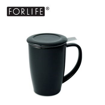 【美國FORLIFE】簡約馬克杯(附蓋/濾網)444 ml - 黑(九色可選)