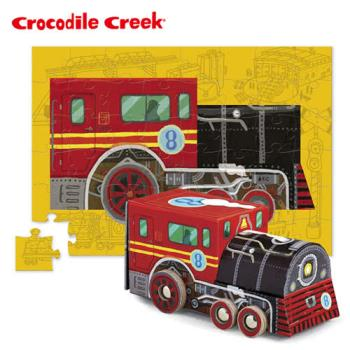 【美國Crocodile Creek】汽車造型盒拼圖系列-火車