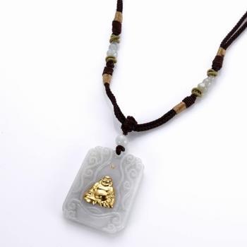 【PIAVEN珠寶】翡翠鑽石玉鑲金彌勒佛吊墜
