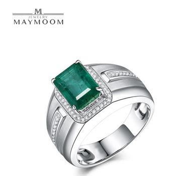 MAYMOON 王者風範 3克拉天然祖母綠鑽戒18K-男戒