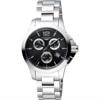 LONGINES 浪琴 Conquest 征服者300米潛水計時腕錶-黑/36mm L33794566