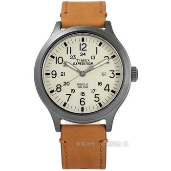 TIMEX 天美時/ TXT4B06500 / INDIGLO 美國復古遠征系列日期帆布真皮手錶 米x灰框x駝 43mm