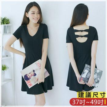 WOMA-S6301韓款性感優雅V領後背深U領打結修身洋裝(黑色)WOMA中大尺碼上衣