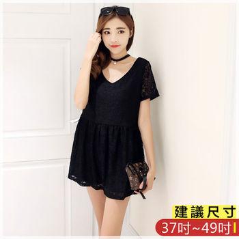 WOMA-S6223韓款性感V領蕾絲修身上衣(黑色)WOMA中大尺碼上衣