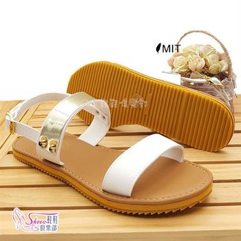 【ShoesClub】【106-192】台灣製MIT 韓系清新無印金屬橫帶皮帶扣飾一字平底涼鞋.白色