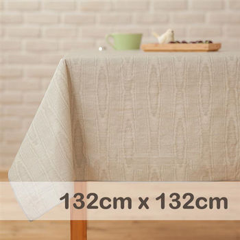 CasaBella美麗家居 防水桌巾 亞麻樺木紋 132x132cm