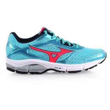 【MIZUNO】WAVE IMPETUS 4女慢跑鞋-路跑 訓練 美津濃 湖水藍橘