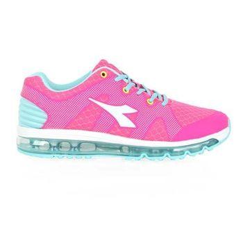 【DIADORA】女氣墊慢跑鞋-路跑 寬楦 亮粉水藍