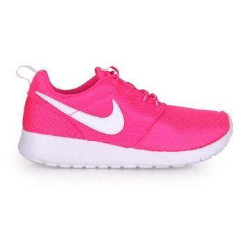 【NIKE】ROSHE ONE 女大童運動鞋 - 路跑 慢跑 粉紅白