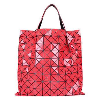 ISSEY MIYAKE BAOBAO幾何方格10x10手提肩背包(珊瑚橘色)