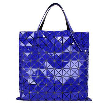 ISSEY MIYAKE BAOBAO幾何方格10x10手提肩背包(藍色)