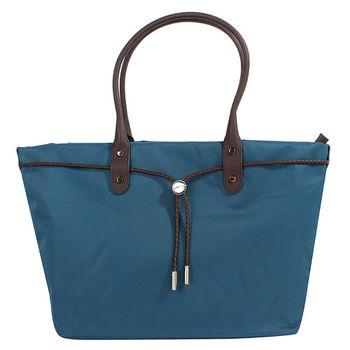 agnes b. voyage帆布麻繩束袋手提包(大/藍綠底咖邊)