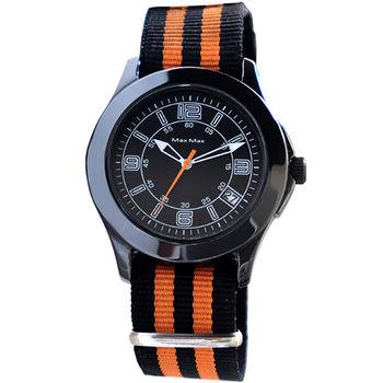 【MAX MAX】簡約配色時尚帆布風腕錶-黑X橘(MA4023-2)