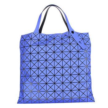 ISSEY MIYAKE BAOBAO幾何方格10x10手提肩背包(紫藍/霧面)