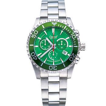 Ogival 瑞士愛其華-深海悍將潛水計時石英腕錶-綠 3985-3GS