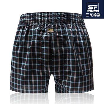Sun Flower三花_五片式平口.四角褲_黑彩格