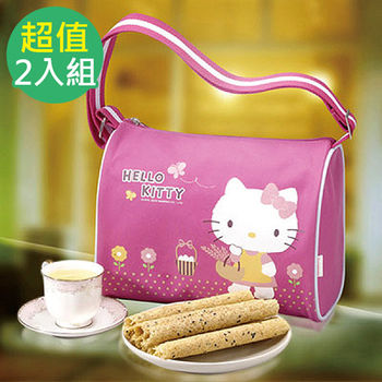 【Hello Kitty】 芝麻蛋捲禮盒-自然風(斜背包)*2入
