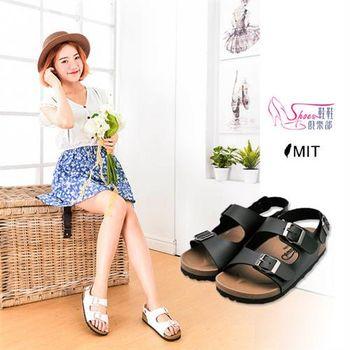 【ShoesClub】【106-110】台灣製MIT 美式基本質感 雙皮帶扣環皮革 休閒涼鞋.2色 白/黑