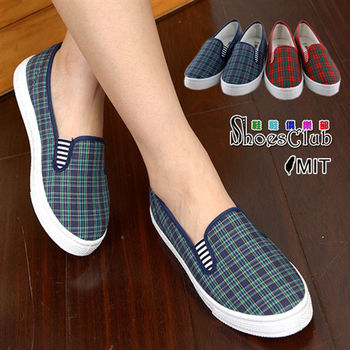 【ShoesClub】【208-N107】蘇格蘭網狀格紋懶人休閒鞋.2色 藍/紅