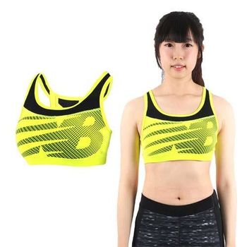 【NEWBALANCE】女款運動短BRA-運動內衣 運動背心 NB 螢光黃黑