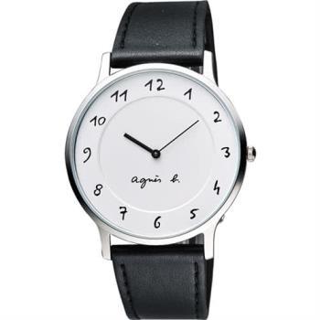 agnes b. 法國時尚藝術腕錶-白x黑 VJ20-K240LB(BJ5004X1)