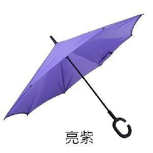 秋季熱銷商品首選 - C型把手雙層站立防風反向傘 超值兩入組