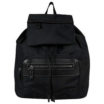 agnes b. 尼龍前拉鏈雙袋束口後背包(黑)