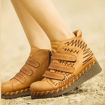 [背叛風情]真皮短靴女式圓頭中跟女靴魔術貼牛皮坡跟靴子T15BXZ86987
