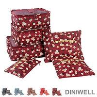~ ~DINIWELL印花系列行李箱衣物收納袋 6件組 ^#40 紅色花朵 ^#41
