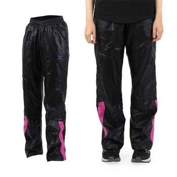 【MIZUNO】女平織長褲- 慢跑 路跑 防潑水 美津濃 黑藍