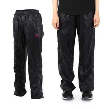 【MIZUNO】女平織長褲- 慢跑 路跑 防潑水 美津濃 黑莓紫