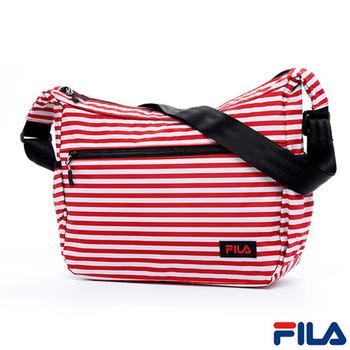 FILA經典風格條紋斜側肩背包(甜心紅)BLQ-5502-RD