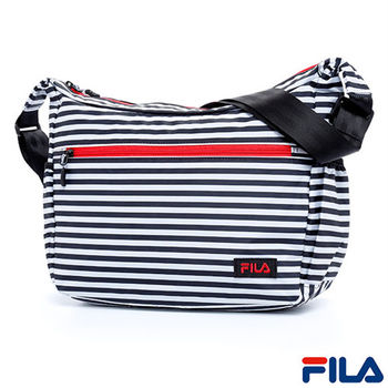 FILA經典風格條紋斜側肩背包(質感黑)BLQ-5502-BK