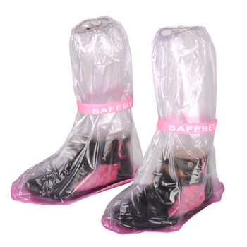 輕便型高筒防水雨鞋套-透明(超值4入組)