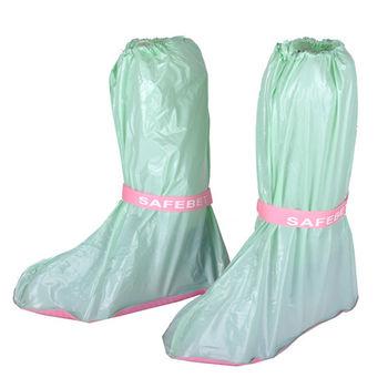 輕便型高筒防水雨鞋套-果綠(超值4入組)
