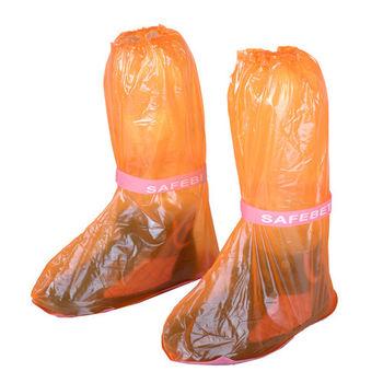 輕便型高筒防水雨鞋套-亮橘(超值4入組)