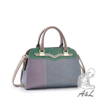 【A&L老工匠】米蘭華麗進口蛇紋真皮包限量-奢華藍