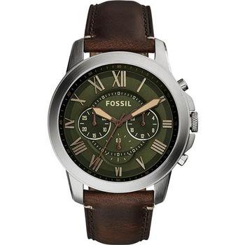 FOSSIL Grant 旗艦三眼計時腕錶-綠x咖啡/44mm FS5153