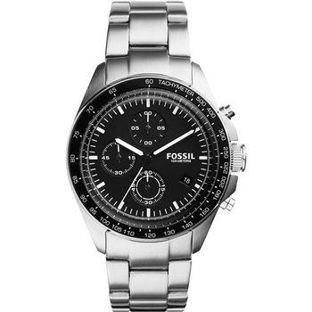 FOSSIL Modern Vintage三眼計時腕錶-黑x銀/42mm CH3026