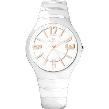 【Max Max】優雅鏤空錶盤陶瓷腕錶-白 (MAS5131-4)