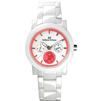 【MAX MAX】夏日亮眼糖果配色精密陶瓷腕錶-白X粉橘(MAS50803J-W4)