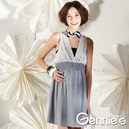 【Gennie's奇妮】性感美人V領春夏孕婦背心洋裝(灰G1111)