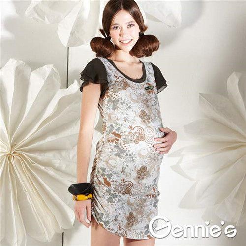 【Gennie's奇妮】幾何花卉星鑽春夏孕婦洋裝(墨綠G1112)