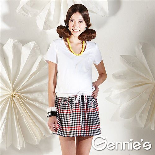 【Gennie's奇妮】甜美清新小格紋春夏孕婦洋裝 (G1103)