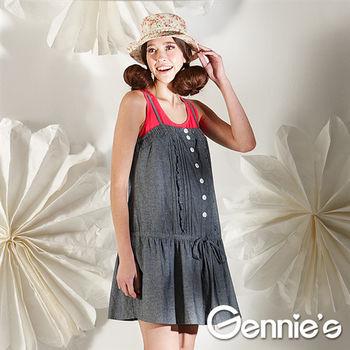 【Gennie's奇妮】細肩背心綁腰棉質孕婦洋裝-灰(G2102)
