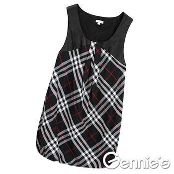 【Gennie's奇妮】英倫風情。氣質花苞春夏孕婦背心洋裝(G2103)