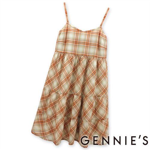 【Gennies奇妮】輕甜格紋銀蔥春夏孕婦背心洋裝-橘格紋(G1134)