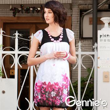 【Gennie's奇妮】俏麗繽紛雪紡花苞裙襬春夏孕婦洋裝(C1115)