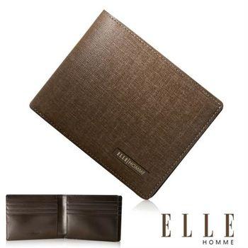 【ELLE HOMME】法式精品短夾 嚴選義大利頭層皮 多層鈔票層/多層證件層(咖啡 EL81953-45)