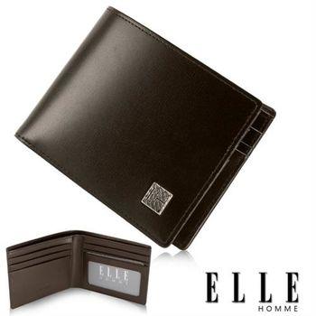 【ELLE HOMME】法式短夾 樹紋 嚴選義大利皮革/鈔票多層/證件層設計短夾(咖啡 EL81802-45)